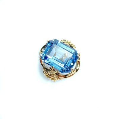 Second Hand 9ct Yellow Gold Blue Topaz Ring