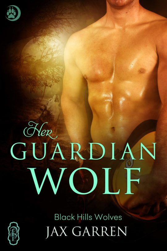 Book cover of Her Guardian Wolf. A bare-chested fireman.