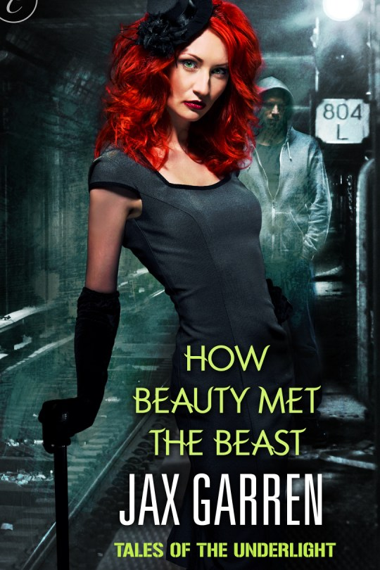 Book cover of How Beauty Met The Beast. A redheaded woman stands before a mysterious man in a hoodie.