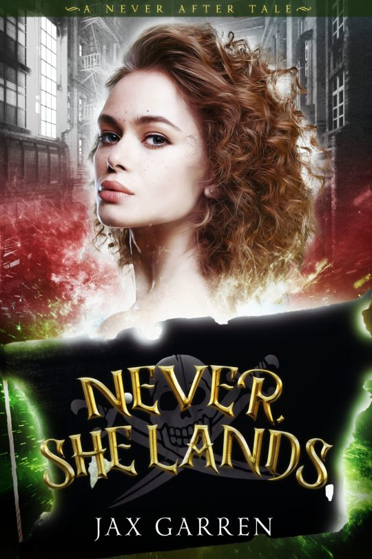 The cover of Never She Lands. A curly-haired woman and a pirate flag.
