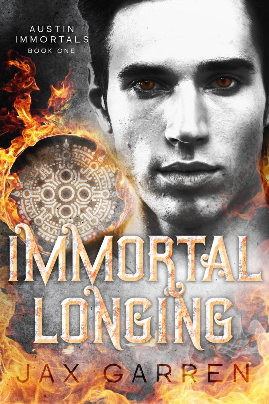 Book cover for Immortal Longing. A man with brown eyes and a magical Aztec symbol with fire.