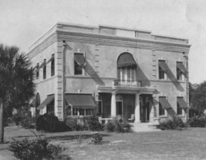 """""""One of the most interesting assignments I ever had was the residence built for the Charles N. Welshans at Goodwin Street and the St. Johns River. It faces the river, is almost pure Georgian in style, and centering the frontentrance is a lovely circular stairway which winds gracefully to the second floor."""""""