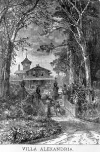 The Villa Alexandria, circa 1882, as viewed from the front--or river--approach.