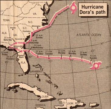 Hurricane Dora's Path