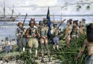 Timucuans greet the French at the River of May. photo credit: Timucua. Trails Park Foundation