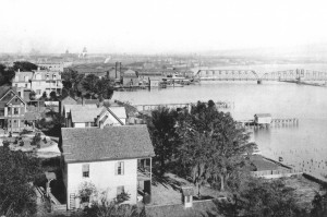 Jacksonville Harbor in 1892, as seen from the Greeley house in Riverside.  The new railroad bridge would be rebuilt in 1923, replacing the butterfuly draw with a double-track bascule lift.