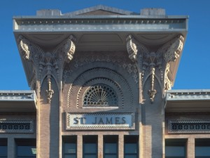 Close up of the St. James Building.