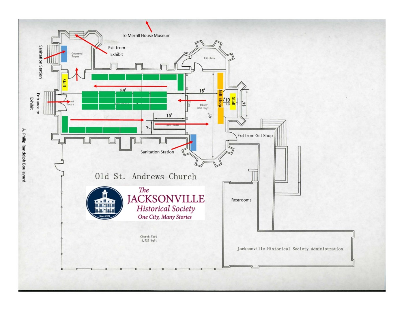 Sample floor plan for Gingerbread Extravaganza 2020 display (subject to change) to ensure safe one-way traffic flow through the exhibit.