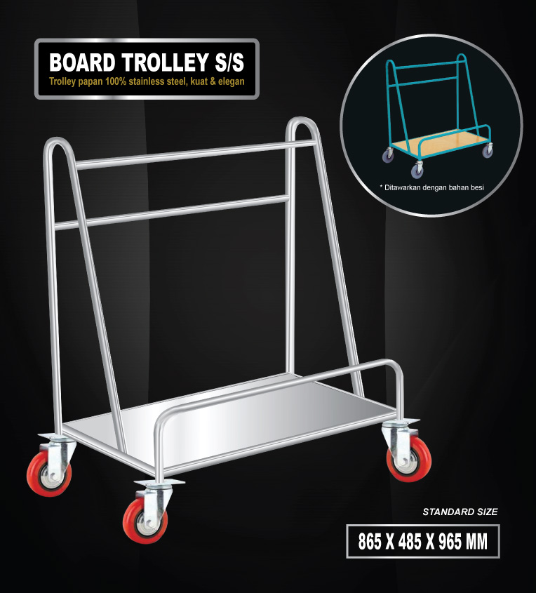 Board trolley stainless steel (trolley papan tahan karat)