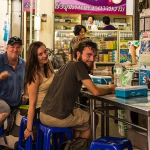 Pierre, Bila, and myself at Maeklong Train Station, Umbrella Market, Thailand