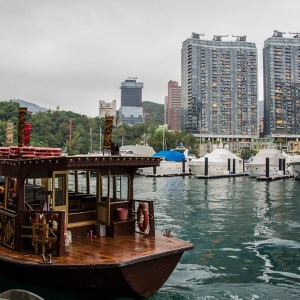 Aberdeen city, harbor, and marina shot from the Jumbo Floating Restaurant
