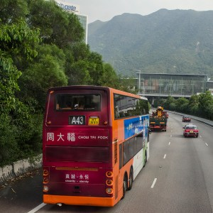 Double decker bus from the Hong Kong airport