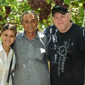 Me, Ha, and vineyard owner Ba Moi in the Ninh Thuan province, Ninh Phuoc district