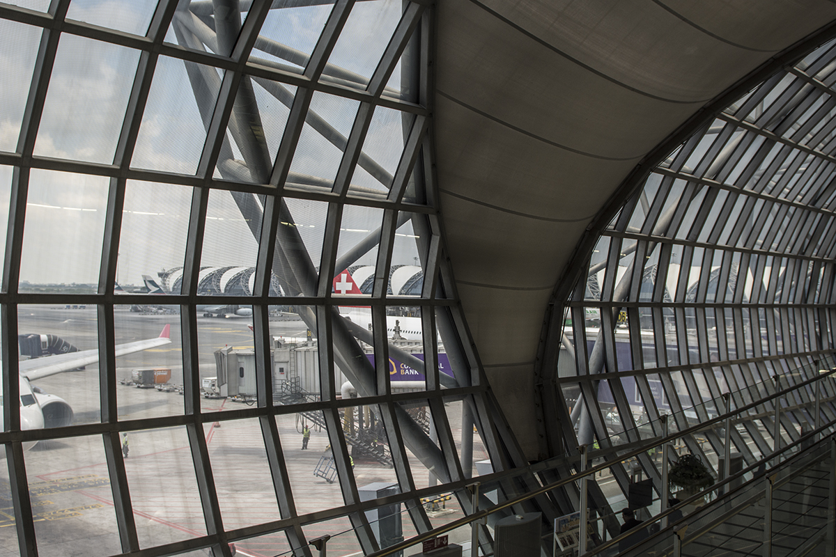 The really awesome designed Suvarnabhumi or Bangkok International Airport