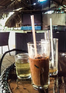 Ca phe sua da, or iced milk coffee.