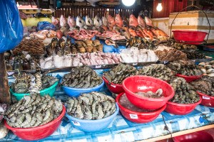 Many various types of seafood in Manila, Philippines