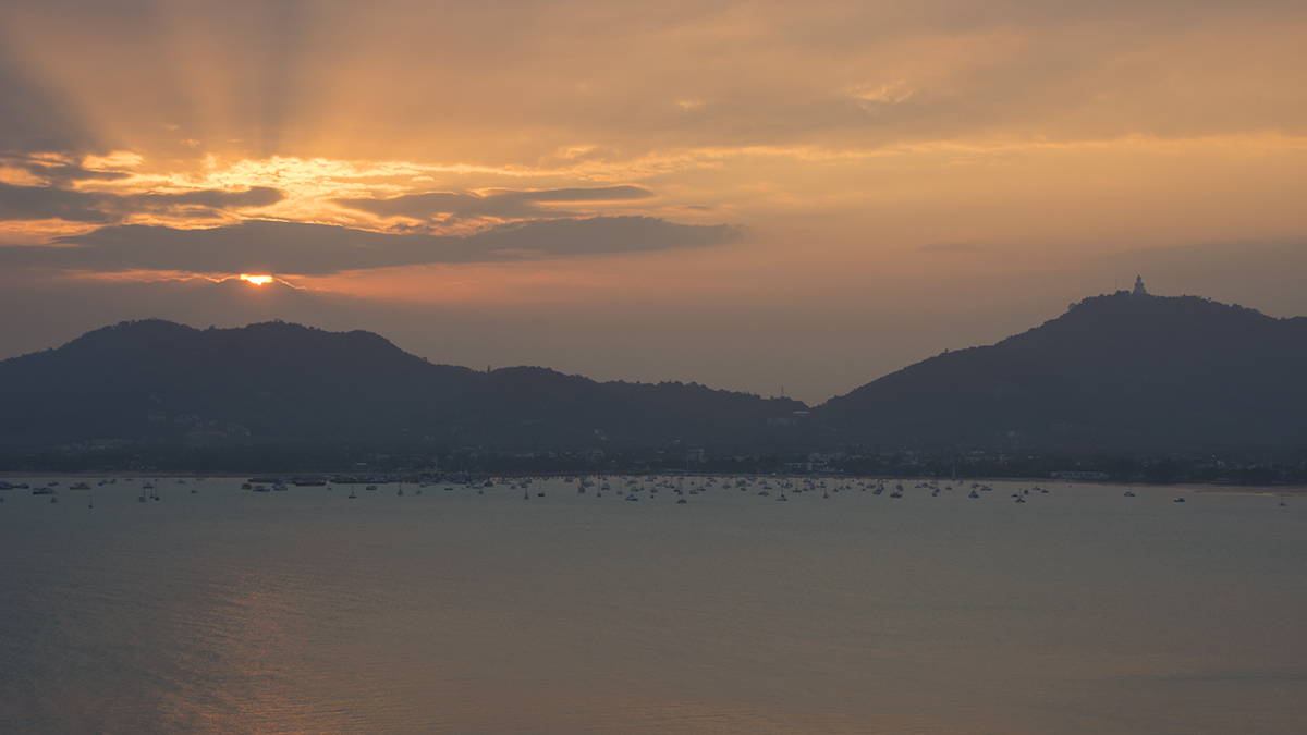 The view of another beautiful sunset from Kao Khad Viewpoint on Phuket Island.