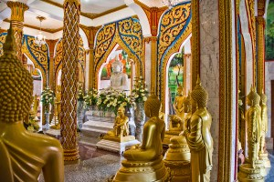 Inside the beautiful Chalong Temple on the island of Phuket.
