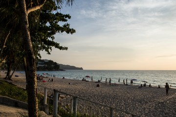 Looking out over Surin Beach at Sunset.