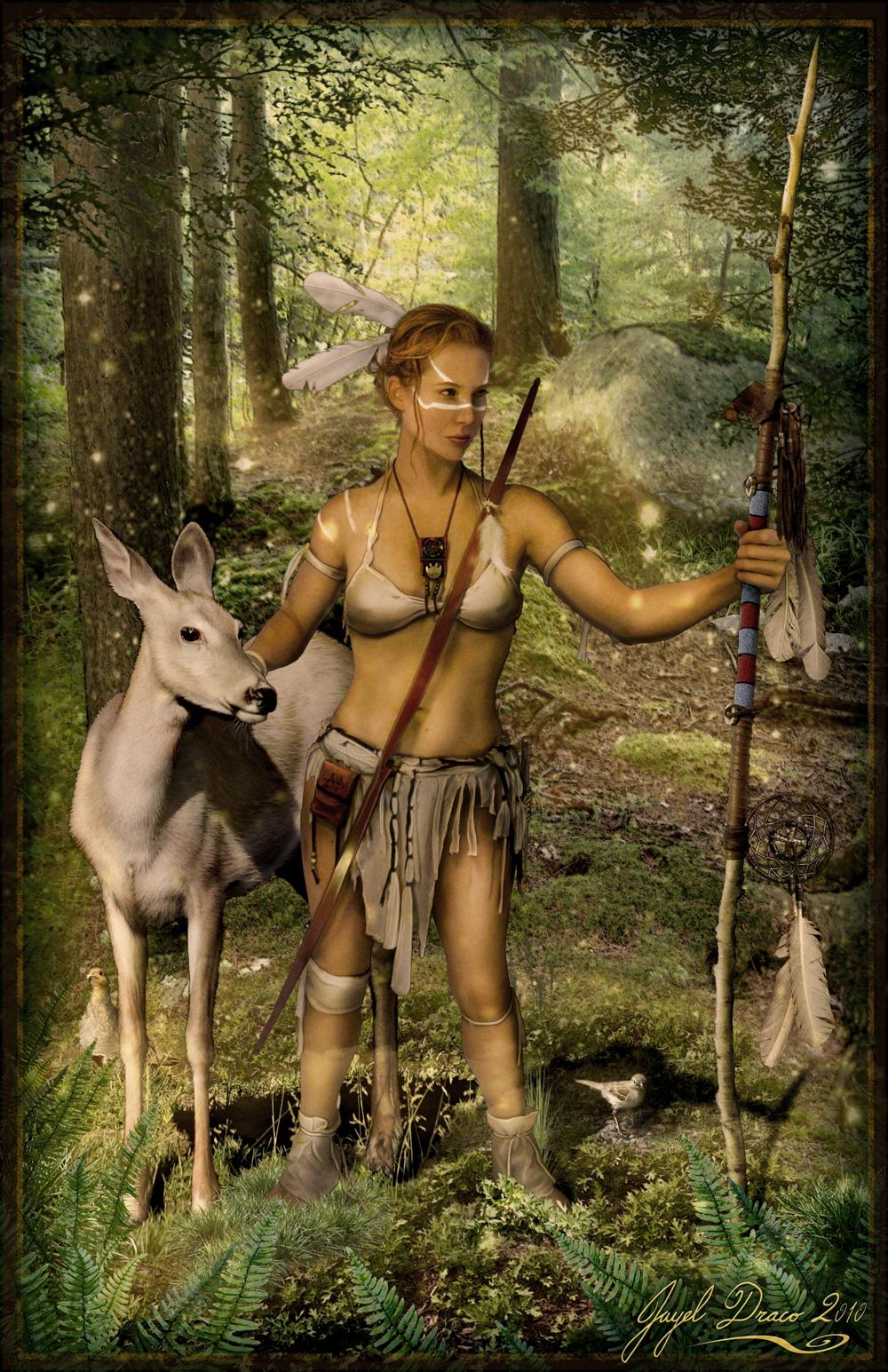 MALIA TAHCA SKAH - the white deer - photomanipulation by Jayel Draco