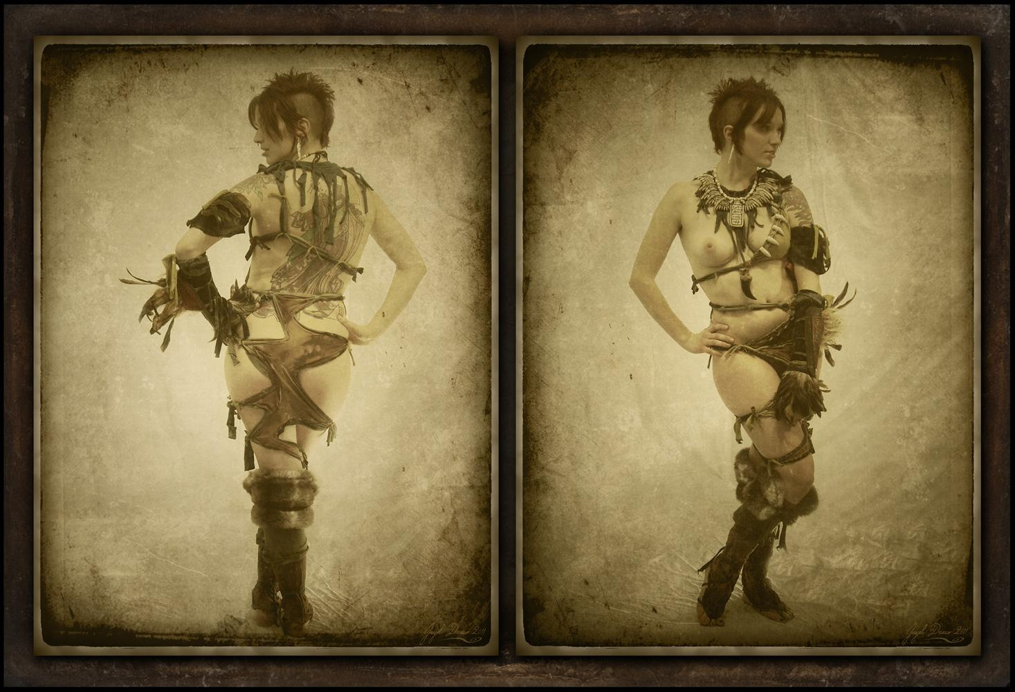 NURIDIAN PRIESTESS - Vintage Tribal Diptych - Costume, Photography, and Photomanipulation by Jayel Draco
