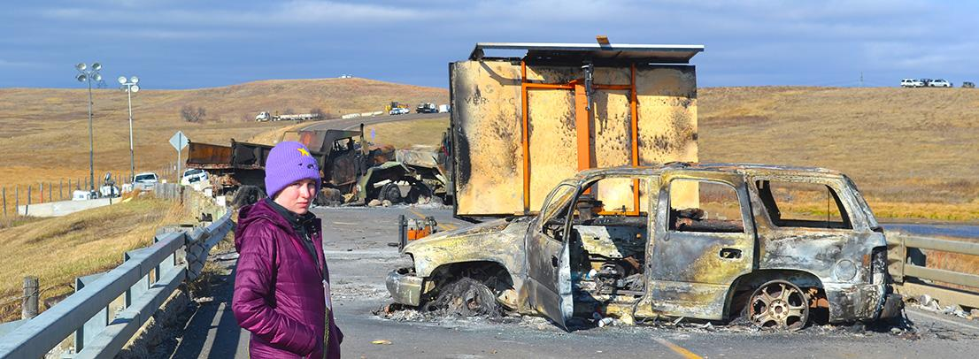 Lynsey G on HWY 1806 just outside of Oceti Sakowin camp in Cannon Ball, North Dakota durring the Standing Rock #NoDAPL protests.