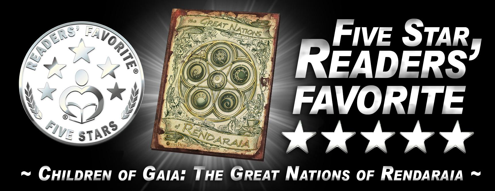 """Children of Gaia: The Great Nations"" of Rendaraia is a Five Star Readers' Favorite!"