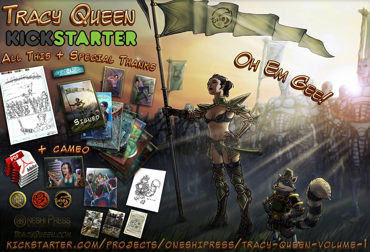 Tracy Queen and Nikola Raccoon lead their robot army of cyborg clones into the battlefield with kickstarter rewards