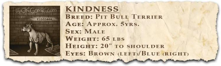 PACK comic book character Bio for Kindness, the pitbull
