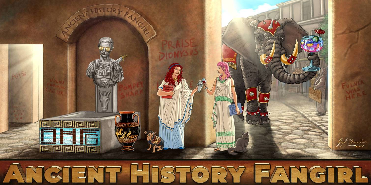 Ancient History fangirl Podcast Illustrated banner