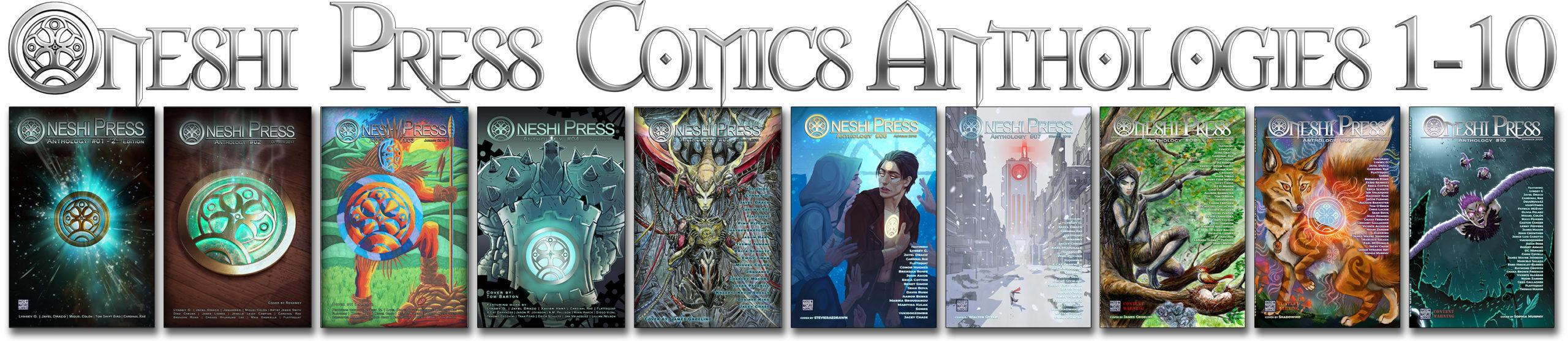 Oneshi Press comics anthologies number one through ten