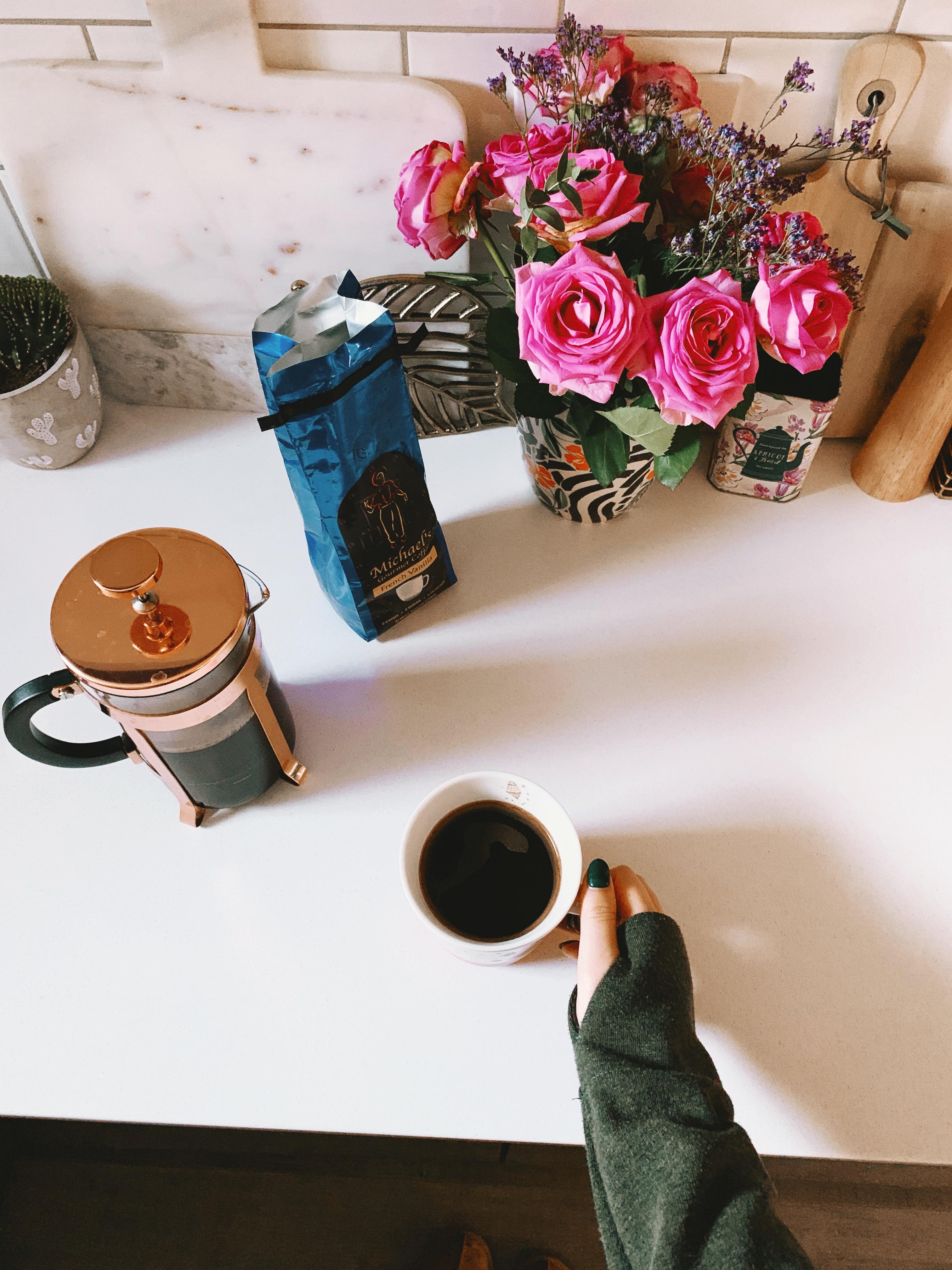 jaye rockett coffee kitchen cafetiere flowers