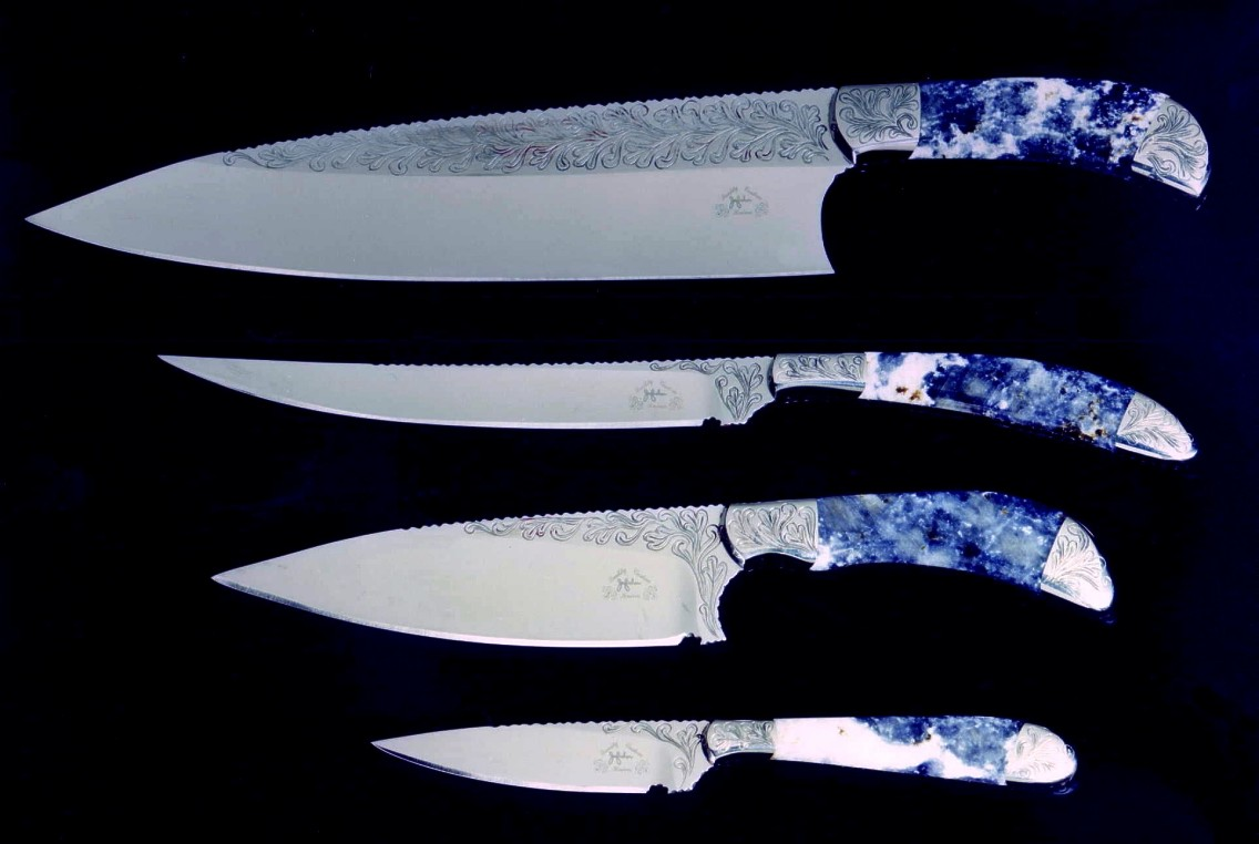 kitchen knife sets for sale commercial fan extractor chef s set of fine handmade knives by jay fisher early top to bottom french sabatier slender boning