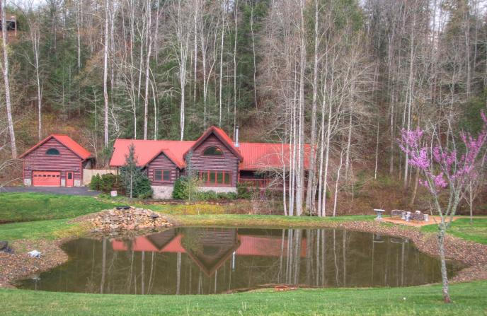 View of 2609 Cedar Falls Way across the pond. Cedar Falls Resort in Pigeon Forge, Tennessee in the Smoky Mountains