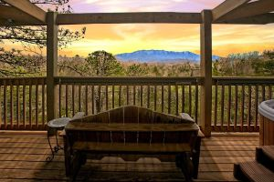 Mountain Glory is a one bedroom cabin in Gatlinburg with an amazing mountain view directly at Mt. Leconte.