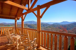Vista Lodge is a five bedroom rental cabin in Wears Valley that offers an amazing mountain view, theater room, and access to The Preserve Resort amenities such as community pool, pavilion, and exercise facility
