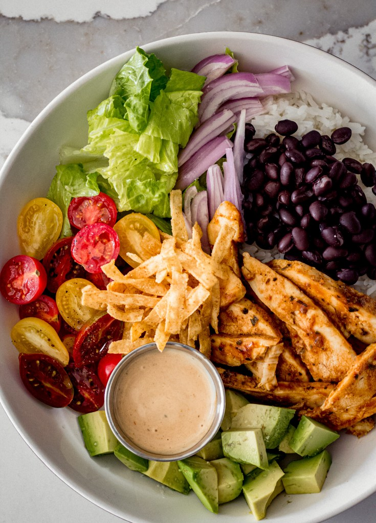 Barbecue chicken bowls with zesty barbecue dressing