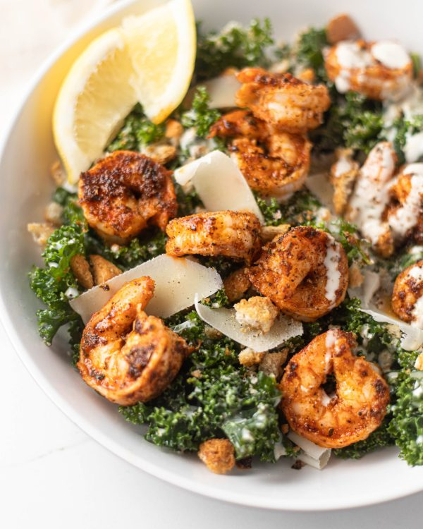 Kale Caesar Salad with Blackened Shrimp