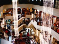 Busy mall at Christmas time.