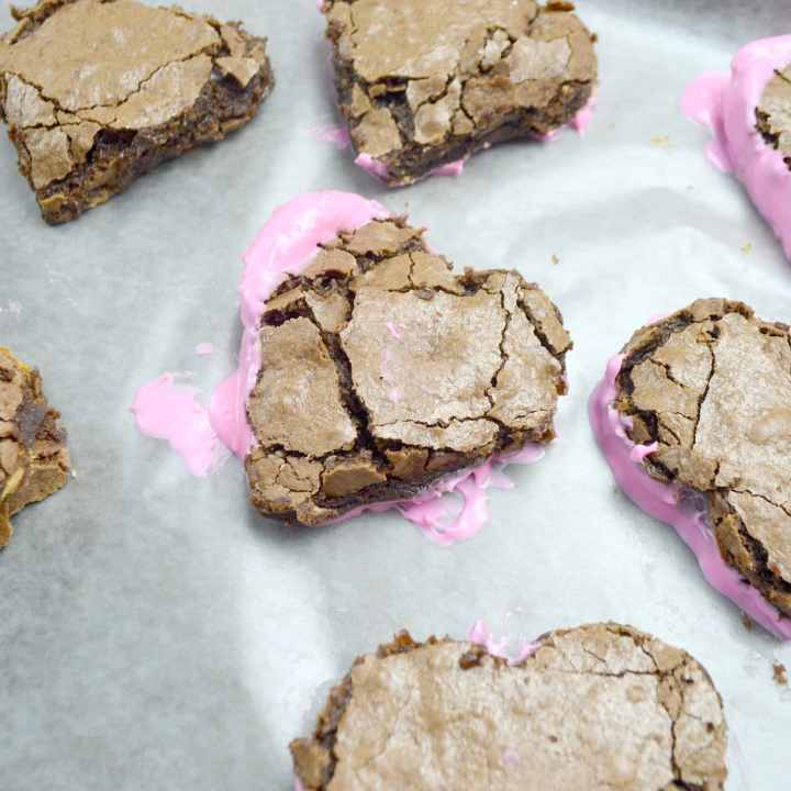 Valentine's Day Fudgy Brownies IStep 13. A from-scratch Valentine's Day Fudgy Brownie recipe, stuffed with butterscotch chips. Dipped in chocolate and then topped with candy hearts and sprinkles.