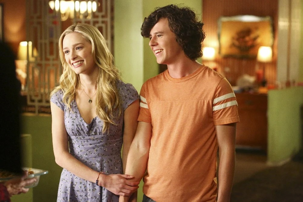 """THE MIDDLE - """"The Core Group"""" - Frankie and Mike are excited to meet April (Greer Grammer) - the love of Axl's life - but discover that love may indeed be blind when April reveals a quirky personality trait. Meanwhile, after getting bit by the acting bug while working at Dollywood over the summer, Sue wants to change her major to theater, and Brick is starting high school and making it his mission to try for a fresh start and not be considered one of the weird kids, on the season premiere of """"The Middle"""" on its new night, TUESDAY, OCTOBER 11 (8:00-8:30 p.m. EDT), on the ABC Television Network. (ABC/Michael Ansell) GREER GRAMMER, CHARLIE MCDERMOTT"""