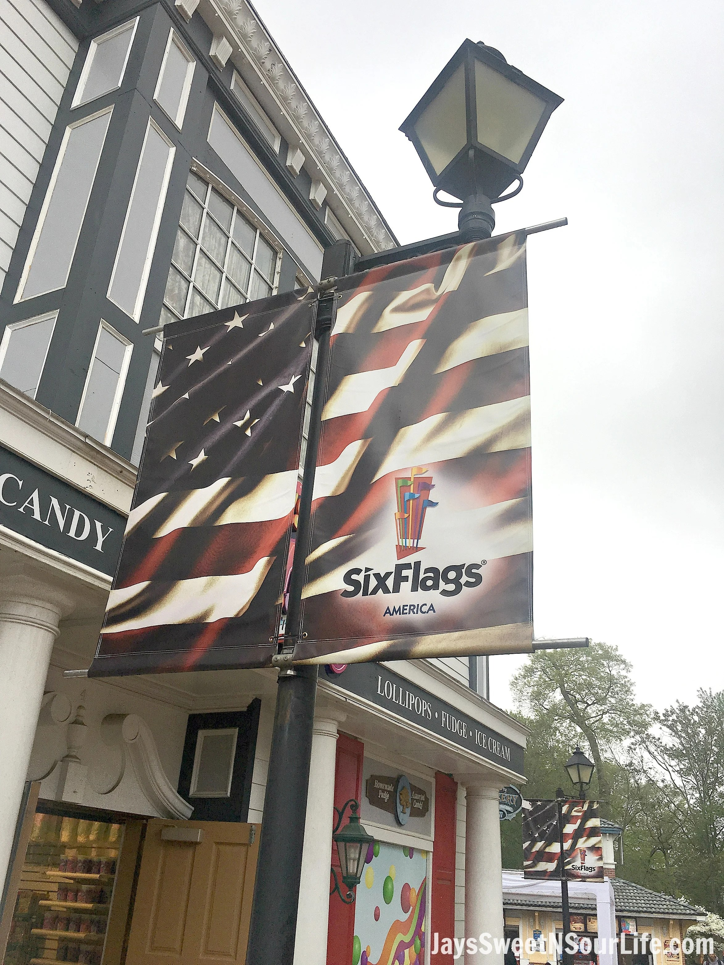 8 Tips For Rainy Day Fun At Six Flags America Flag. If you are planning a trip to Six Flags America and realized the weather calls for rain don't cancel your plans! These 8 Tips For Rainy Day Fun At Six Flags America will save the day.