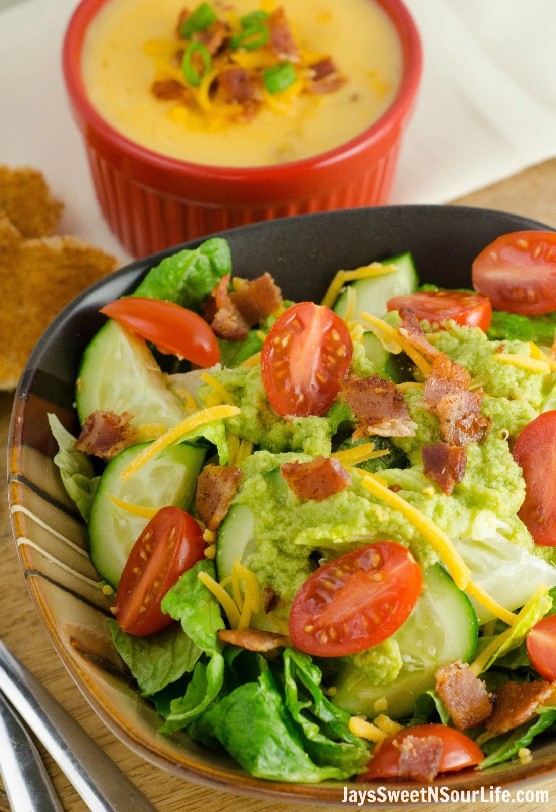 Simple and easy to make avocado vinaigrette dressing for a simple side salad.