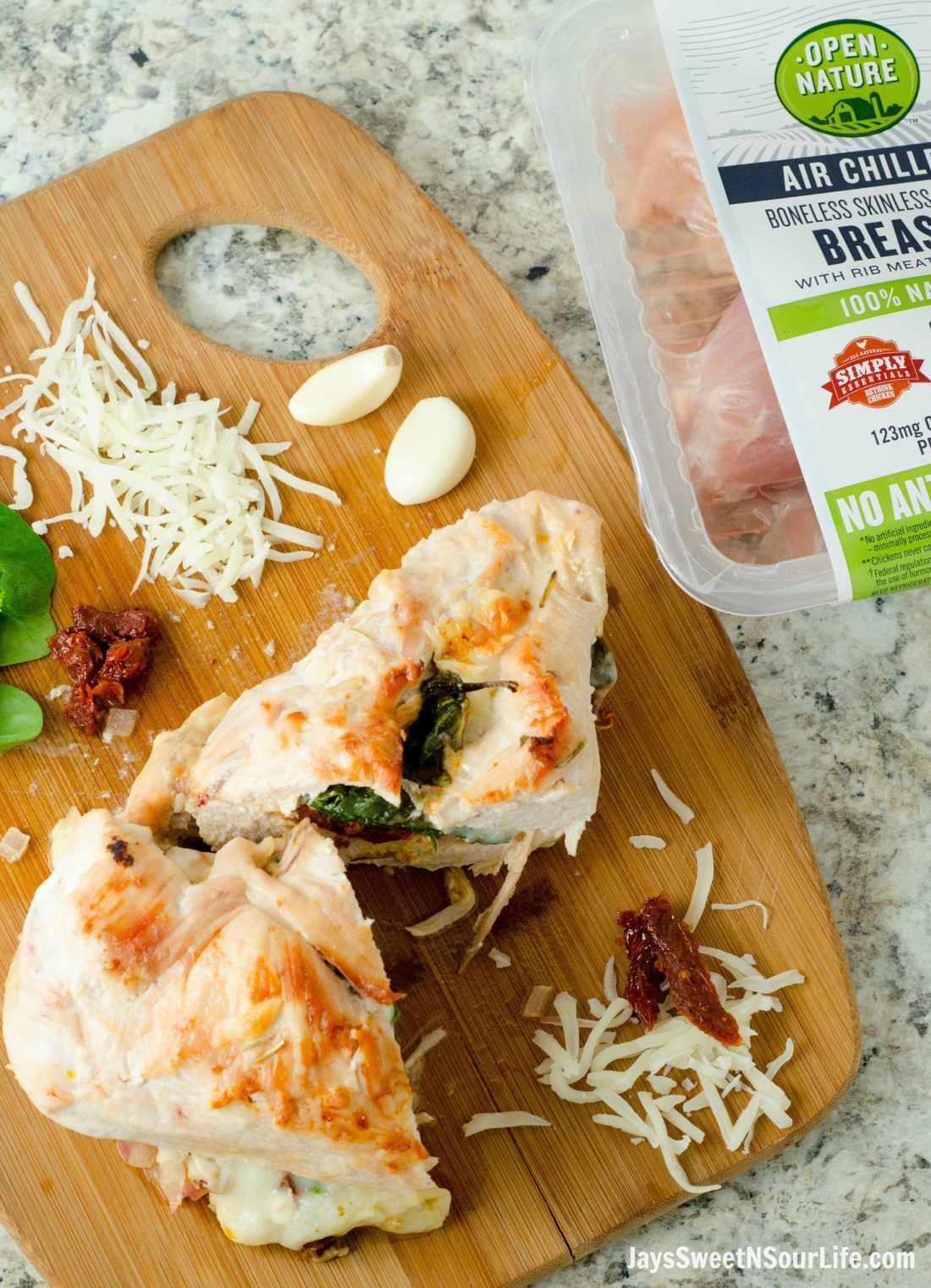 Dinner in under 30 minutes is made possible with this Sundried Tomato, Spinach and Cheese Stuffed Chicken. Made with simple Ingredients and a new Air Chilled Chicken product from Natures Promise.