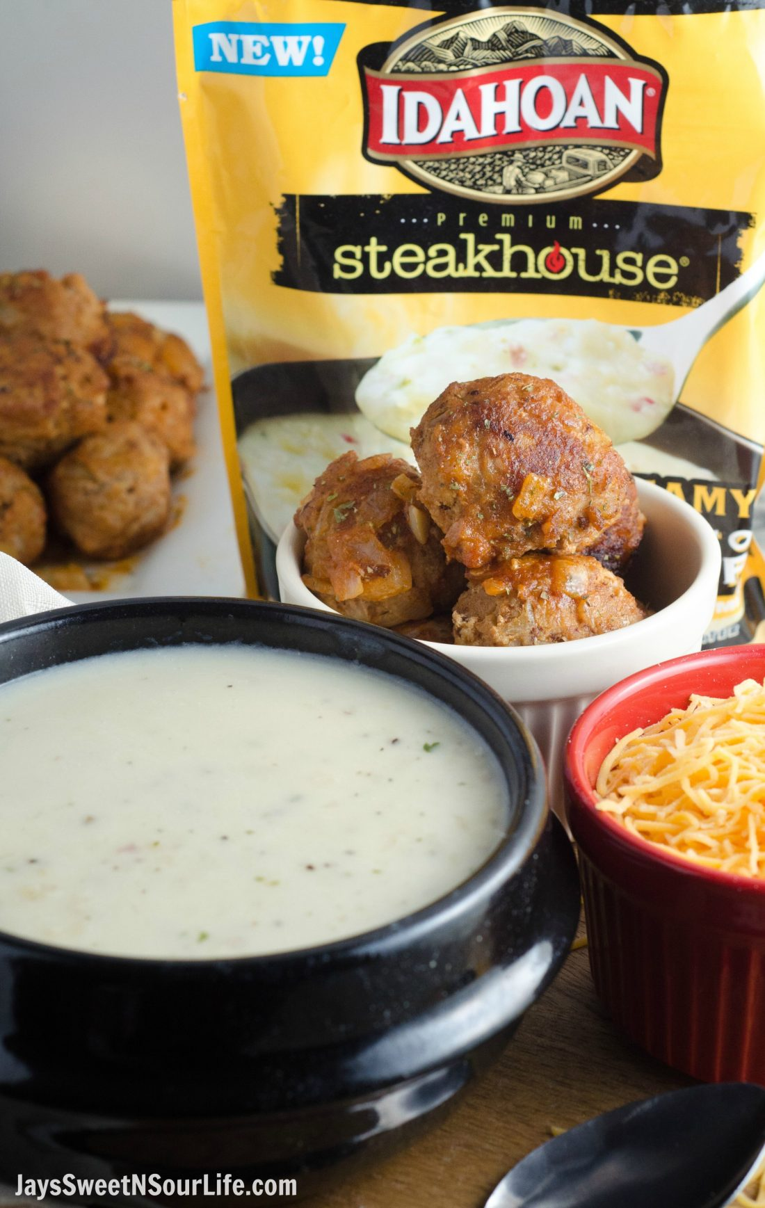 This sweet and sour turkey meatball is an easy 10 minute dinner option. Make ahead and freeze for future meals. Serve with the New Idahoan Steakhouse Soups, dip and devour for a tasty dinner. Top your soup with Cheddar cheese and dip away.