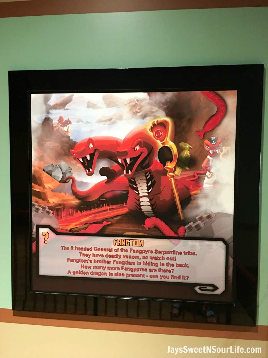 Legoland Florida Fangtom Poster in the Ninjago World Ride. Spend your summer building memories at Legoland in Florida. There is something for the whole family to enjoy at this wonderful Theme Park.