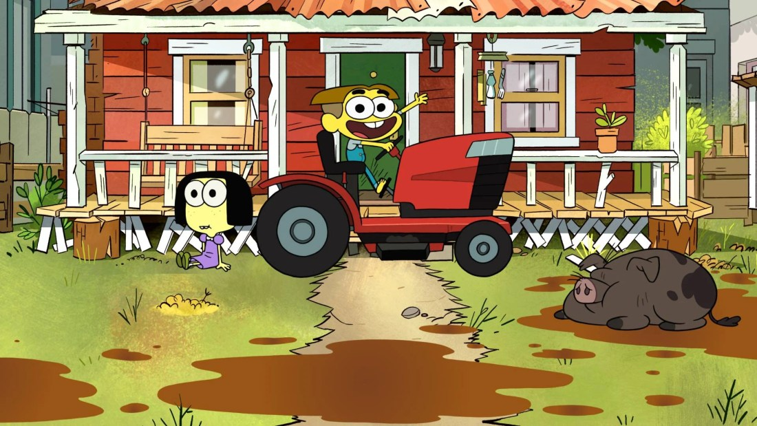 Disney Channels Big City Greens debuts June 15th. Disney Channels Big City Greens boy sitting on tracker with girl standing next to him.