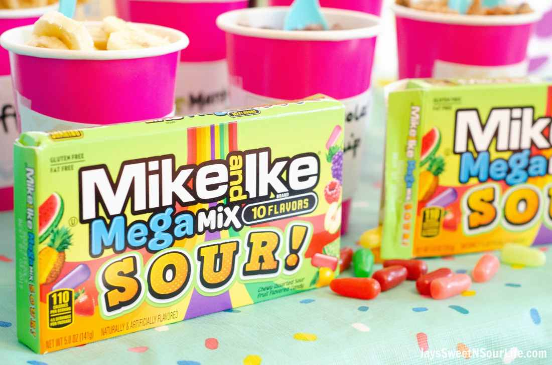 Create your very own Beach Sundae Party Table spread. Include your childrens favorite candy toppings including the new Mike and Ike MegaMix Sour Candy's.