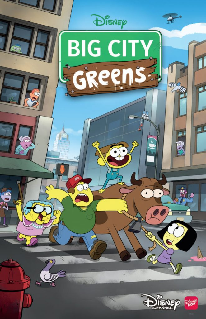 Disney Channels Big City Greens follows the offbeat adventures of 10-year-old Cricket Green, whose natural curiosity and enthusiasm lead him and his family – older sister Tilly, father Bill and Gramma Alice – on epic journeys and into the hearts of his new neighbors.