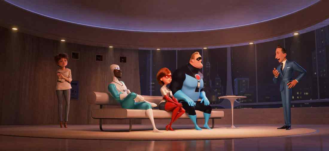 "In ""Incredibles 2,"" savvy siblings and business partners Evelyn and Winston Deavor summon Frozone, Elastigirl and Mr. Incredible to share a plan designed to ultimately make Supers legal again. Disney•Pixar's ""Incredibles 2"" busts into theaters on June 15, 2018. ©2018 Disney•Pixar. All Rights Reserved."